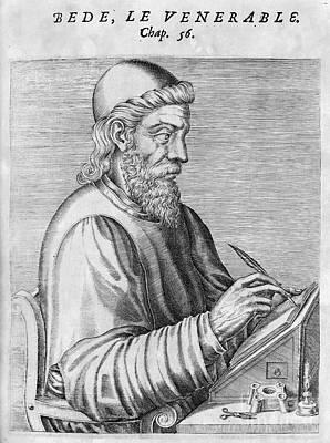 Skullcap Photograph - Saint Bede (c672-735) by Granger