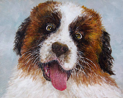Painting - Saint Bernard Puppy by Lou Ann Bagnall