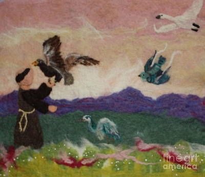 Saint Francis And The Birds Art Print by Nicole Besack