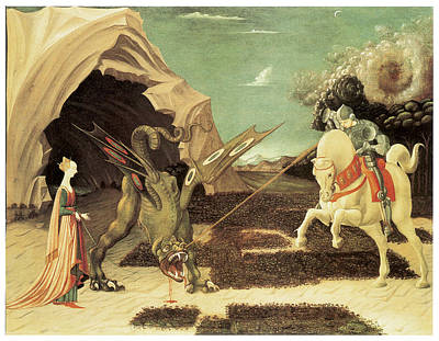 Saint George And The Dragon Art Print by Paolo Uccello