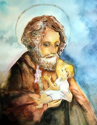 Saint Joseph And Child Art Print by Myrna Migala