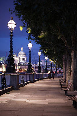 Saint Paul's Cathedral As Seen From The Queen's Walk Along The Thames River In London.  2007. Art Print by Uyen Le