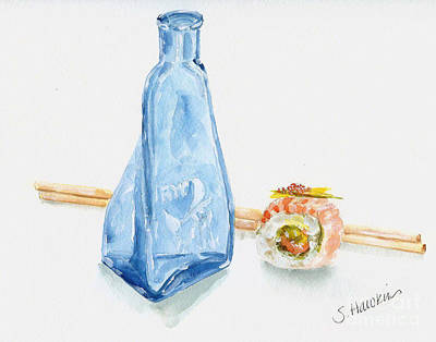 Sake Bottle Painting - Sake And Sushi by Sheryl Heatherly Hawkins