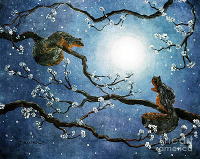 Sakura Squirrels Art Print by Laura Iverson