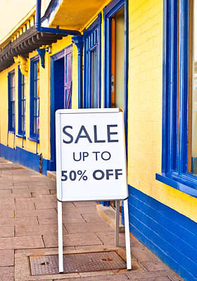 Discount Wall Art - Photograph - Sale Sign by Tom Gowanlock