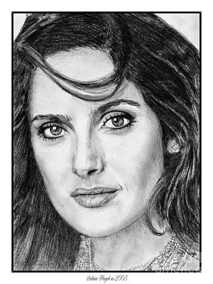 Art Print featuring the drawing Salma Hayek In 2005 by J McCombie