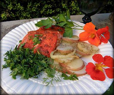 Salmon Dinner Art Print