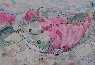 Salmon Spawn Art Print