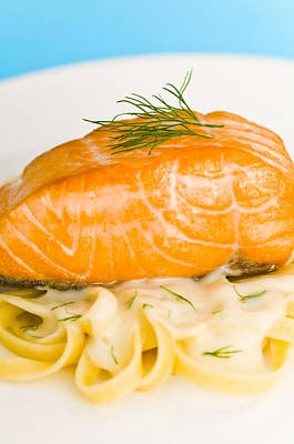 Photograph - Salmon Steak On Pasta Decorated With Dill Closeup by U Schade