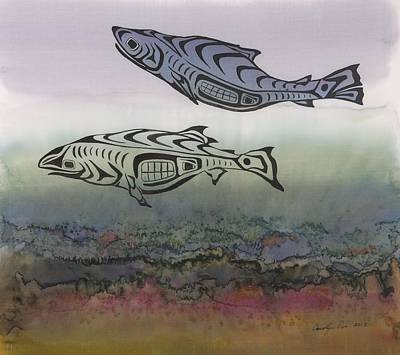 Salmon Stream Art Print by Carolyn Doe