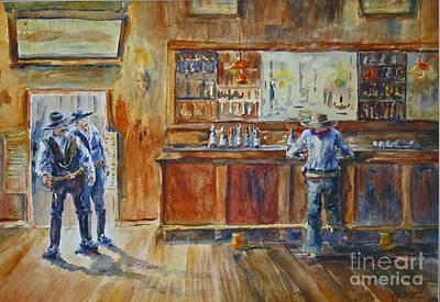 Saloon Showdown Art Print by Betsy Aguirre