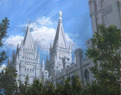 Wall Art - Painting - Salt Lake Temple by Nik English