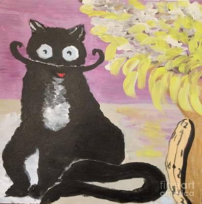 Black Cat Clock Painting - Salvadore Dalicat by Marie Bulger