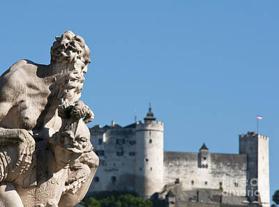 Salzburg Castle Seen From Mirabell Palace Gardens Art Print by Andrew  Michael