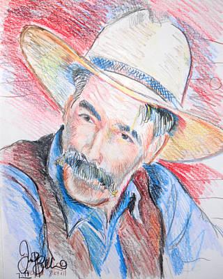 Lebowski Drawing - Sam Elliot by Jon Baldwin  Art
