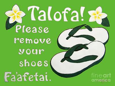 Samoan Painting - Samoan Welcome Sign - Light Green by Kristy Mao