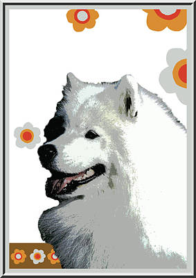 Puppies Digital Art - Samoyed by One Rude Dawg Orcutt