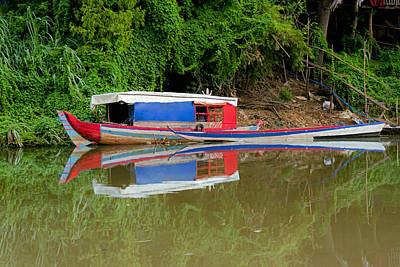 Photograph - Sampan Reflections by David Freuthal