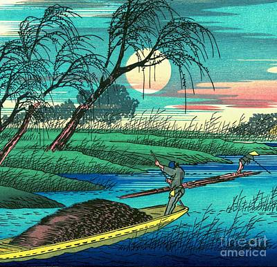 Ando Hiroshige Photograph - Sampans On The Ohta River by Padre Art