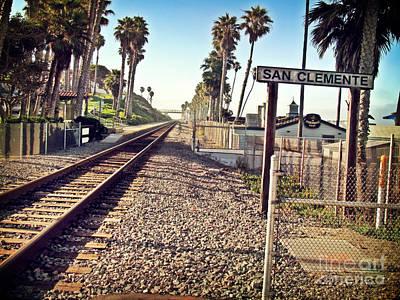 San Clemente Train Tracks Art Print by Traci Lehman