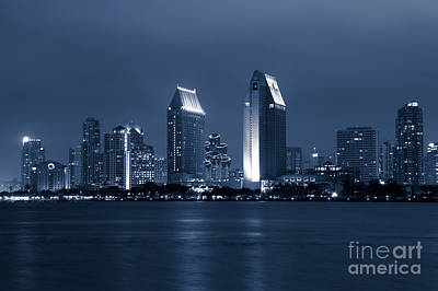San Diego Bay Photograph - San Diego At Night by Paul Velgos
