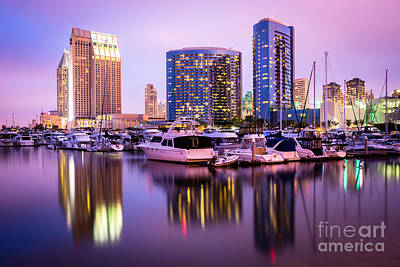 San Diego At Night With Marina Yachts Art Print by Paul Velgos