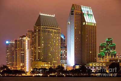 San Diego Bay Photograph - San Diego City At Night by Paul Velgos