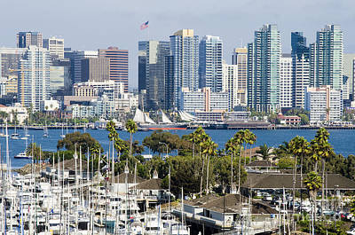 San Diego Cityscape Art Print by MaryJane Armstrong