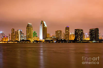 San Diego Bay Photograph - San Diego Skyline At Night by Paul Velgos