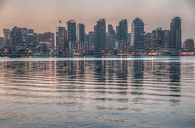 Photograph - San Diego Skyline At Sunrise by Connie Cooper-Edwards