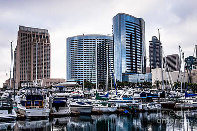 San Diego Skyline Luxury Marina Art Print by Paul Velgos