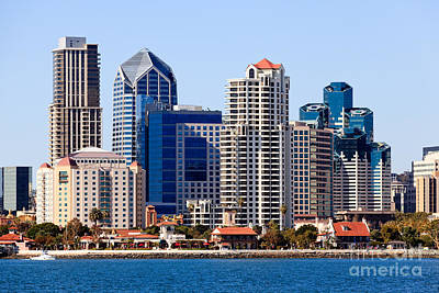 San Diego Bay Photograph - San Diego Skyline Photo by Paul Velgos