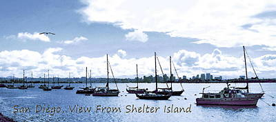 San Diego Artist Digital Art - San Diego View From Shelter Island by Visual Artist  Frank Bonilla