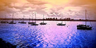 San Diego Artist Digital Art - San Diego View From Shleter Island II by Visual Artist  Frank Bonilla