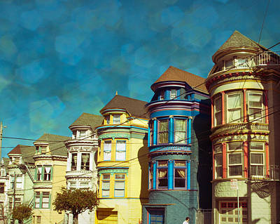 City Scape Digital Art - San Fran Row Houses by Sonja Quintero