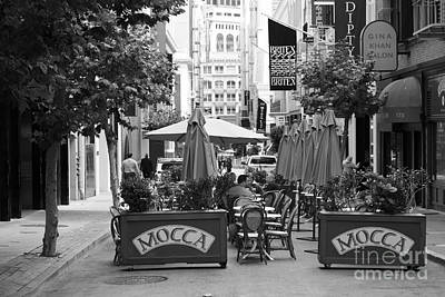 San Francisco - Maiden Lane - Outdoor Lunch At Mocca Cafe - 5d17932 - Black And White Art Print by Wingsdomain Art and Photography