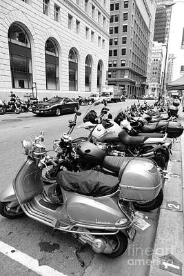 Bicycle Photograph - San Francisco - Scooters And Motorcycles Along Sansome Street - 5d17657 - Black And White by Wingsdomain Art and Photography
