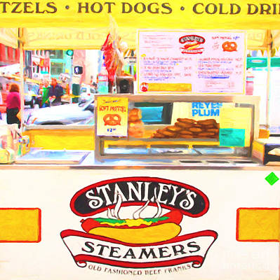 Stockton Digital Art - San Francisco - Stanley's Steamers Hot Dog Stand - 5d17929 - Square - Painterly by Wingsdomain Art and Photography