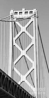 San Francisco Bay Bridge At The Embarcadero . Black And White Photograph . 7d7762 Print by Wingsdomain Art and Photography