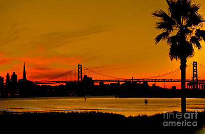 Photograph - San Francisco Bay Bridge Sunset by Harry Strharsky