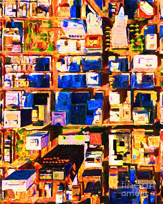 San Francisco Birdseye Abstract . Painterly Art Print by Wingsdomain Art and Photography