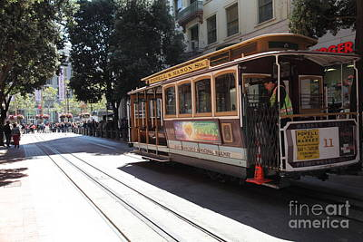 San Francisco Cable Car At The Powell Street Cable Car Turnaround - 5d17963 Art Print by Wingsdomain Art and Photography