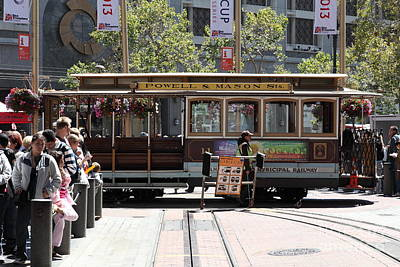 San Francisco Cable Car At The Powell Street Cable Car Turnaround - 5d17968 Art Print by Wingsdomain Art and Photography