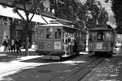 Trains Trollies And Buses - Art And Photograph - San Francisco Cable Cars At The Powell Street Cable Car Turnaround - 5d17959 - Black And White by Wingsdomain Art and Photography