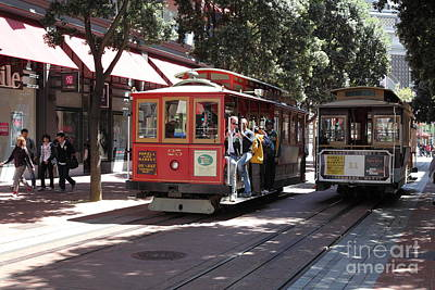 San Francisco Cable Cars At The Powell Street Cable Car Turnaround - 5d17959 Art Print by Wingsdomain Art and Photography