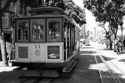 San Francisco Cable Cars At The Powell Street Cable Car Turnaround - 5d17962 - Black And White Art Print by Wingsdomain Art and Photography