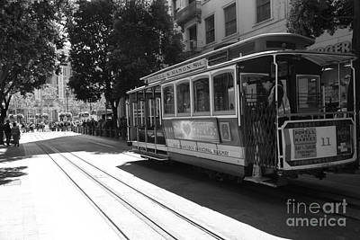 Trains Trollies And Buses - Art And Photograph - San Francisco Cable Cars At The Powell Street Cable Car Turnaround - 5d17963 - Black And White by Wingsdomain Art and Photography