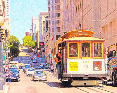 San Francisco Cablecar Coming Down Powell Street Art Print by Wingsdomain Art and Photography