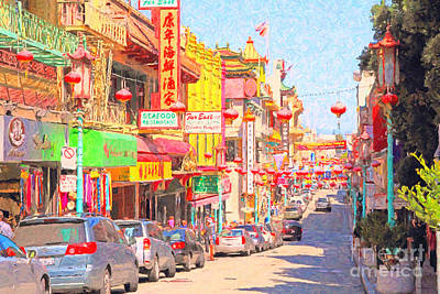 Bay Area Digital Art - San Francisco Chinatown by Wingsdomain Art and Photography