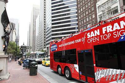 San Francisco Double Decker Tour Bus On Market Street - 5d17844 Art Print by Wingsdomain Art and Photography